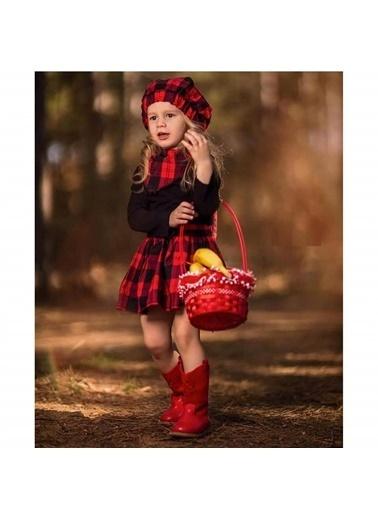 Quzucuk Kids Kız Çocuk Kırmızı Ekoseli Şapkalı Takım Renkli